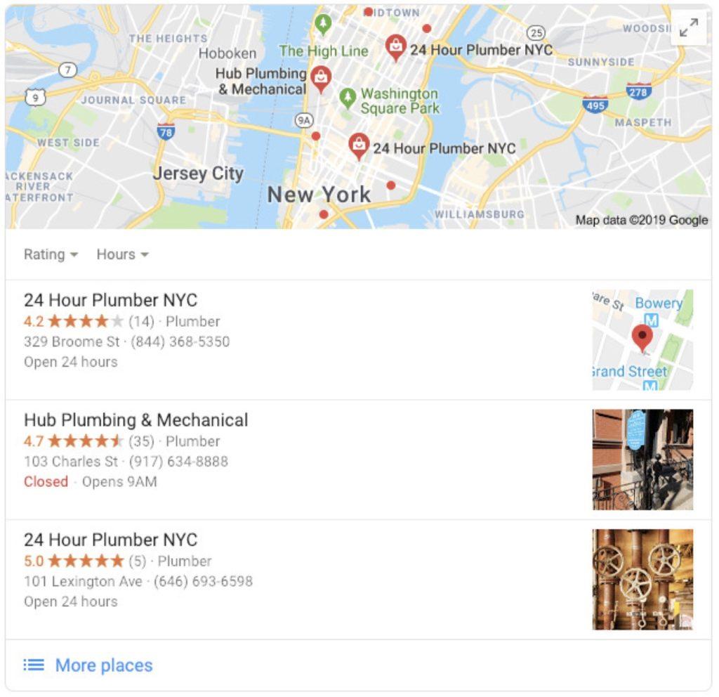 google map listing